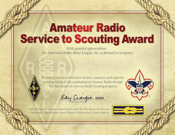 Arrl service to scouting award k2bsa amateur radio association the bsa allows scouting leaders to wear the community organization award square knot on their uniform in recognition of their service within their yelopaper Choice Image